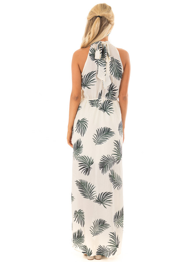 Cream Tropical Print High Neck Maxi Dress with Front Slits back full body