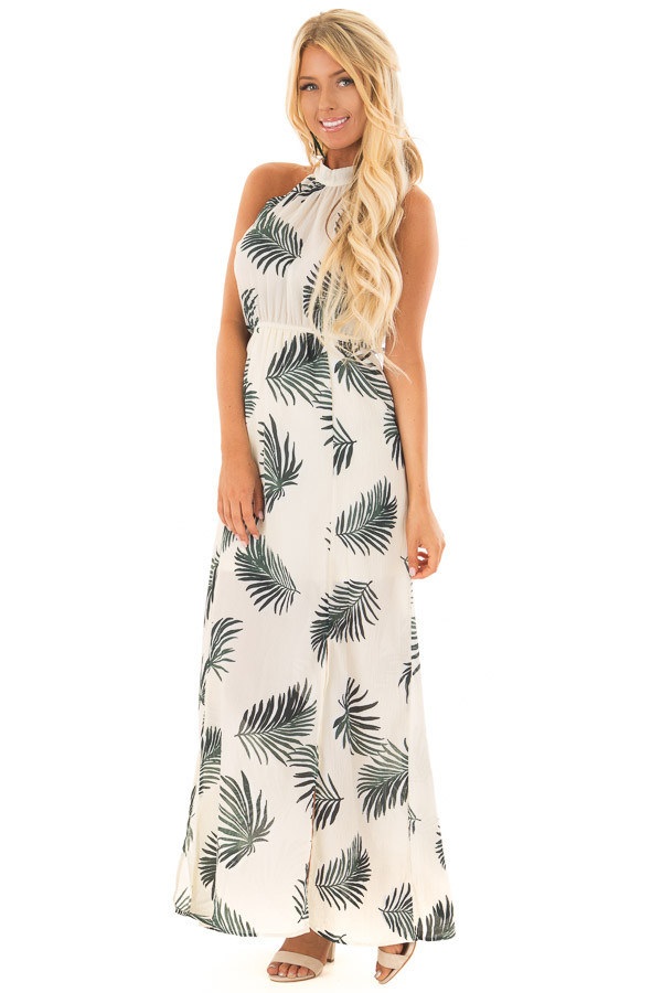 Cream Tropical Print High Neck Maxi Dress with Front Slits front full body