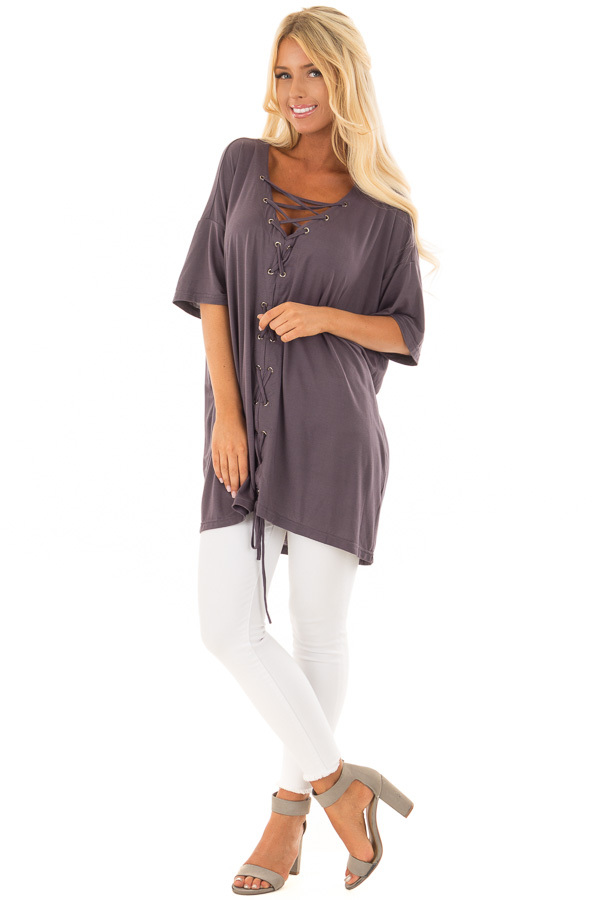 Charcoal V Neck Loose Fit Top with Lace Up Front front full body