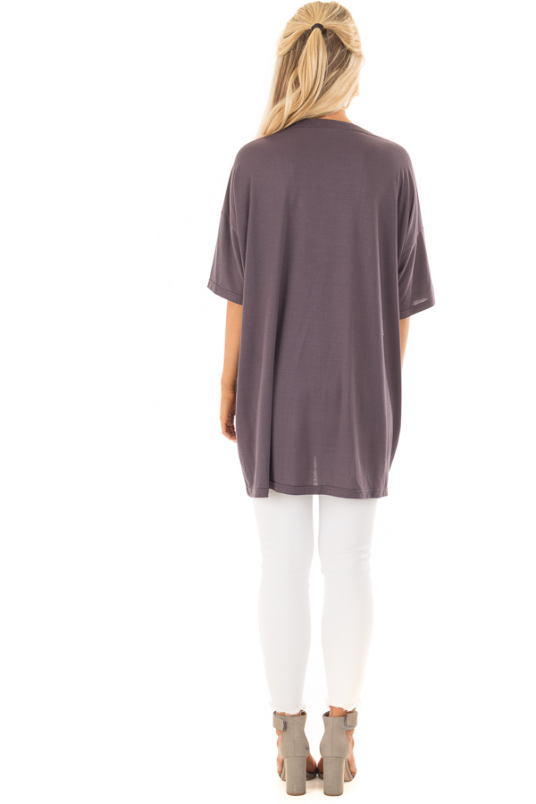 Charcoal V Neck Loose Fit Top with Lace Up Front back full body