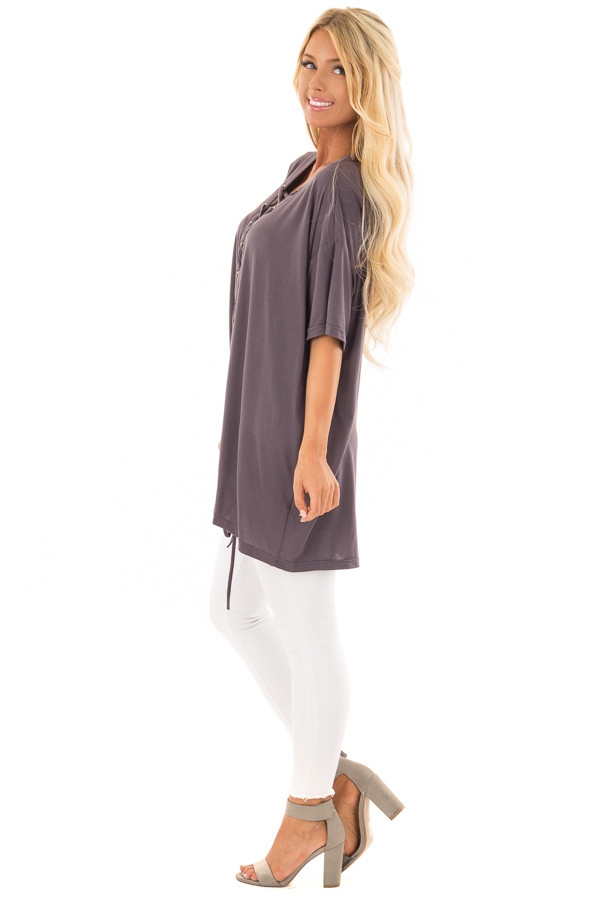 Charcoal V Neck Loose Fit Top with Lace Up Front side full body