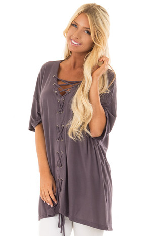 Charcoal V Neck Loose Fit Top with Lace Up Front front closeup