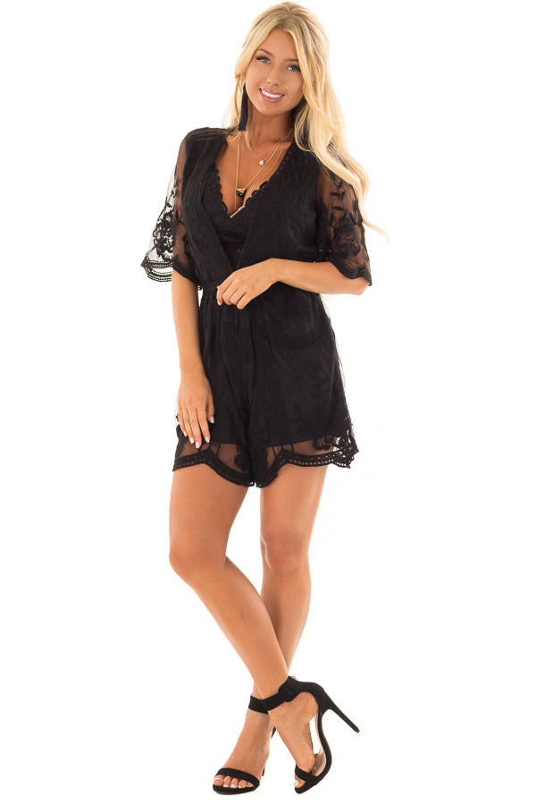 Black Floral Lace Romper with Sheer Sleeves front full body