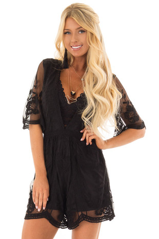 Black Floral Lace Romper with Sheer Sleeves front closeup