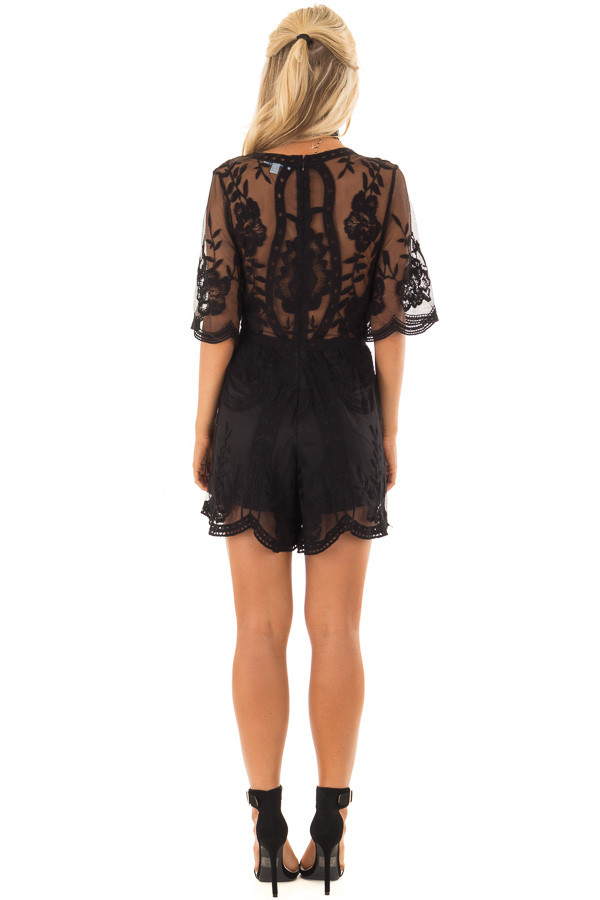 Black Floral Lace Romper with Sheer Sleeves back full body