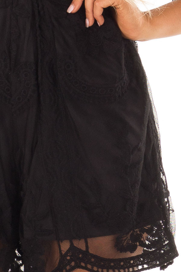 Black Floral Lace Romper with Sheer Sleeves front detail