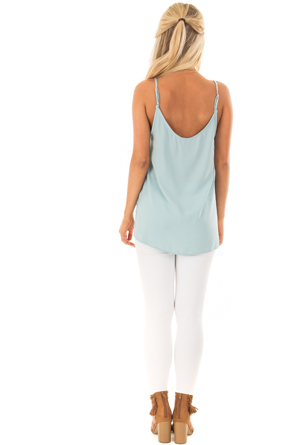 Powder Blue V Neck Tank Top with Front Twist Detail back full body