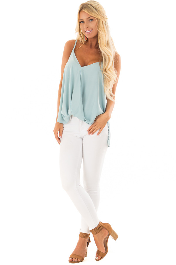 Powder Blue V Neck Tank Top with Front Twist Detail front full body