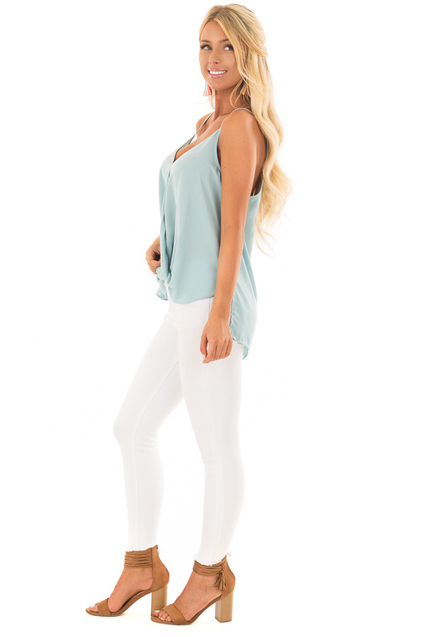 Powder Blue V Neck Tank Top with Front Twist Detail side full body