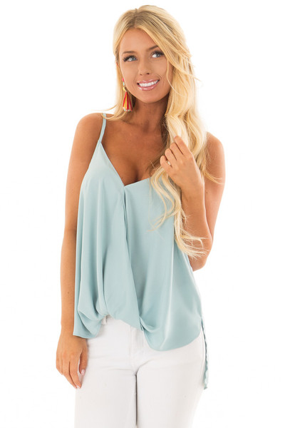 Powder Blue V Neck Tank Top with Front Twist Detail front closeup