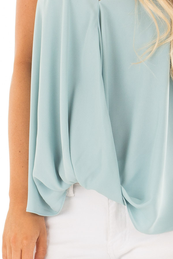 Powder Blue V Neck Tank Top with Front Twist Detail front detail