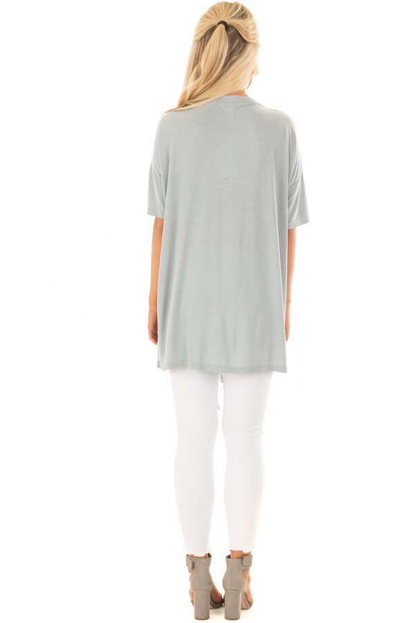 Dusty Blue V Neck Loose Fit Top with Lace Up Front back full body