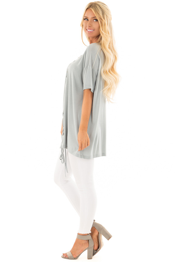 Dusty Blue V Neck Loose Fit Top with Lace Up Front side full body