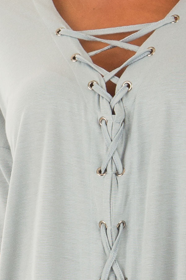 Dusty Blue V Neck Loose Fit Top with Lace Up Front front detail