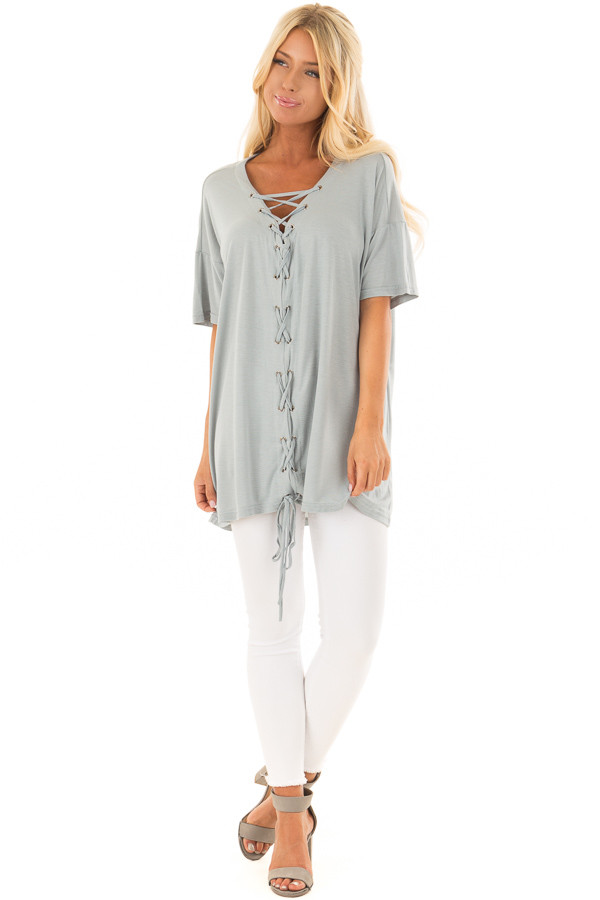 Dusty Blue V Neck Loose Fit Top with Lace Up Front front full body