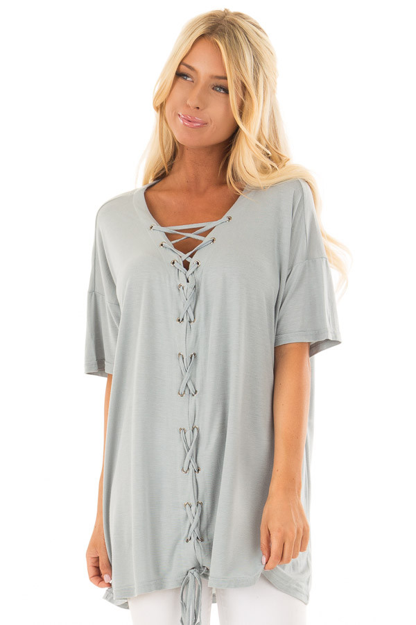 Dusty Blue V Neck Loose Fit Top with Lace Up Front front closeup