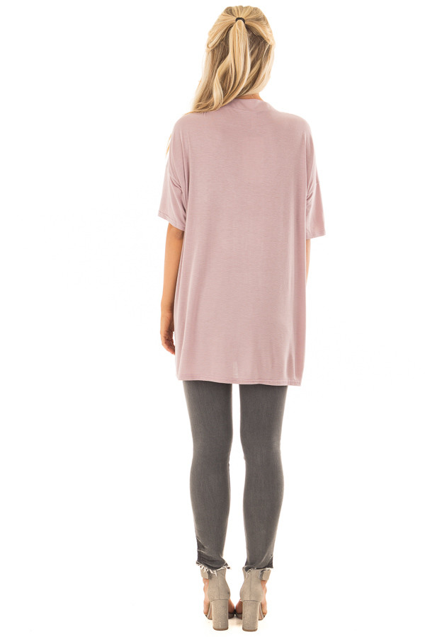 Dusty Mauve V Neck Loose Fit Top with Lace Up Front back full body