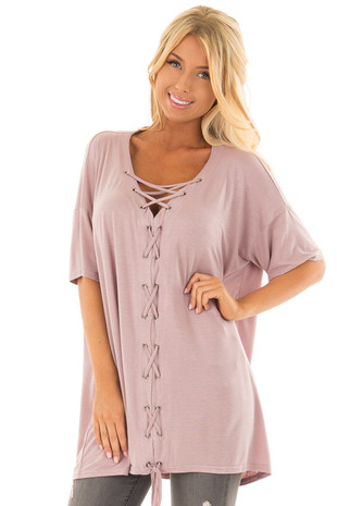 Dusty Mauve V Neck Loose Fit Top with Lace Up Front front closeup