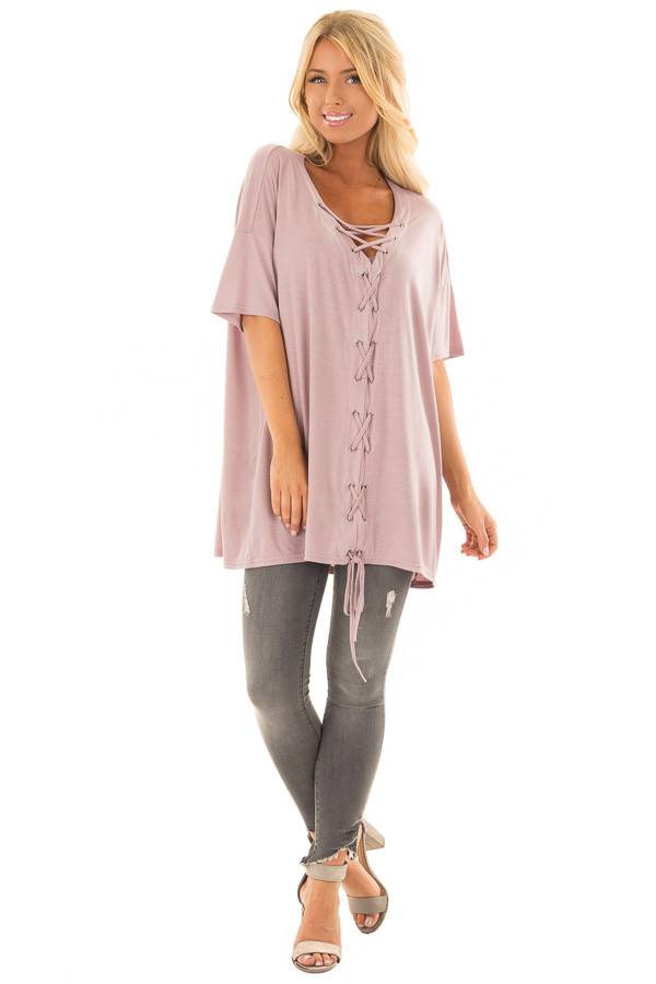 Dusty Mauve V Neck Loose Fit Top with Lace Up Front front full body