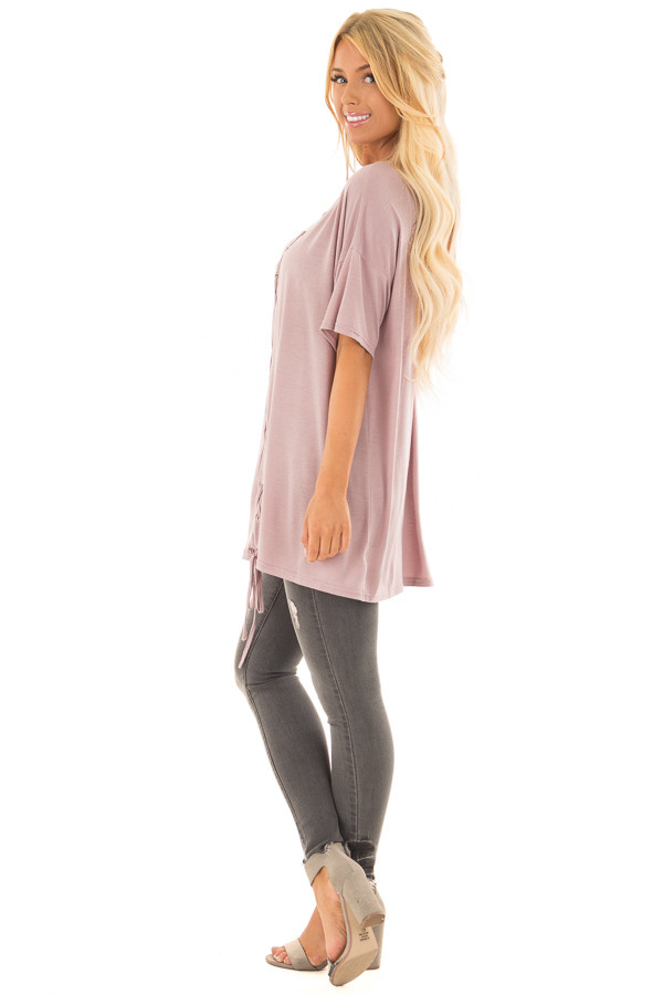 Dusty Mauve V Neck Loose Fit Top with Lace Up Front side full body