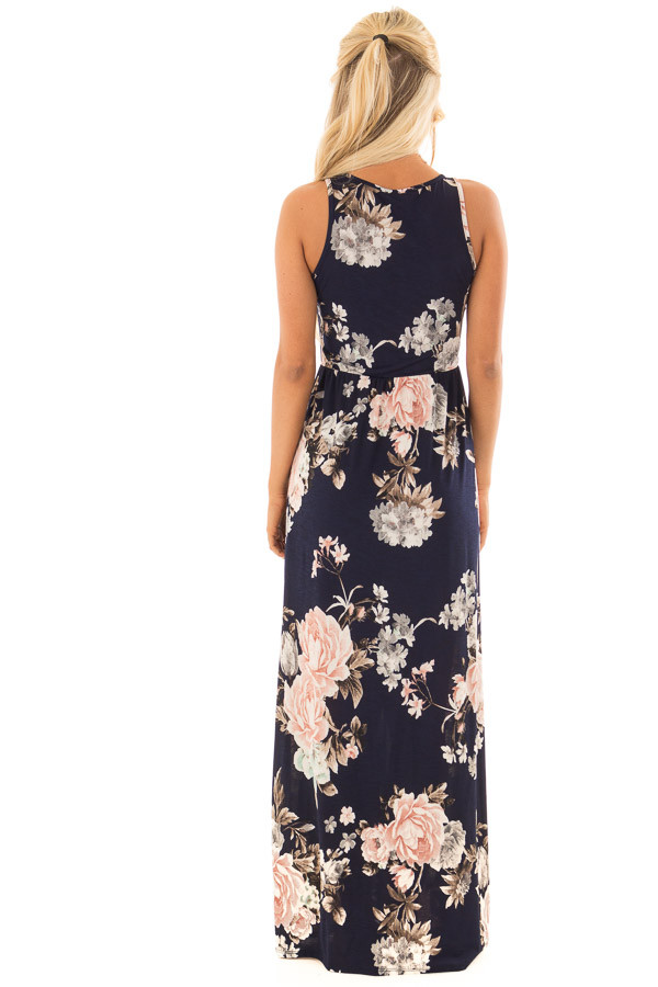 Navy Floral Print Maxi Dress with Side Pockets back full body
