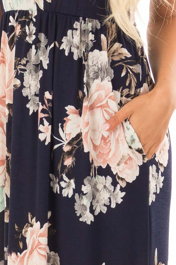 Navy Floral Print Maxi Dress with Side Pockets front detail