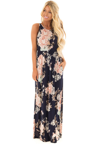 Navy Floral Print Maxi Dress with Side Pockets front full body