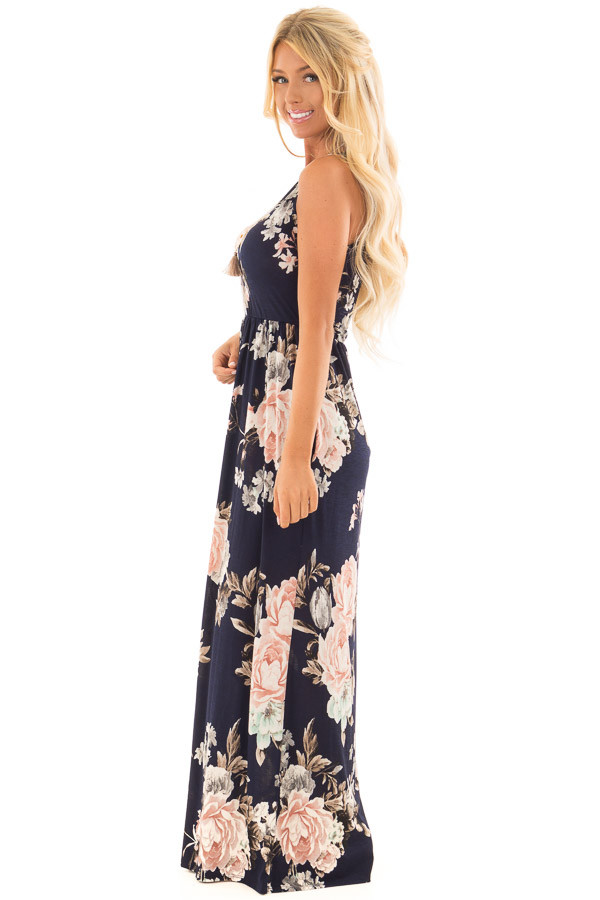 Navy Floral Print Maxi Dress with Side Pockets side full body