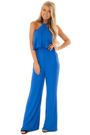 Cobalt Blue Halter Jumpsuit with Overlay Detail front full body