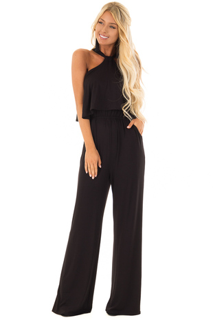 Obsidian Black Halter Jumpsuit with Overlay Detail front full body