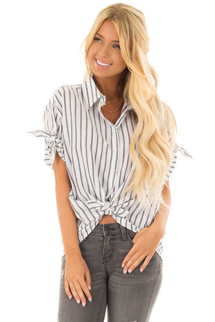 White and Charcoal Button Up Top with Tie Sleeve Detail front closeup