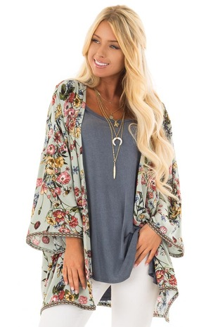 Dusty Sage Floral Print Kimono with Embroidered Trim front closeup