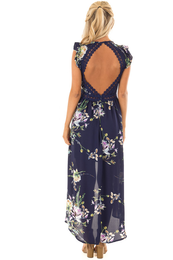 Navy Floral Print High Low Dress with Open Back back full body