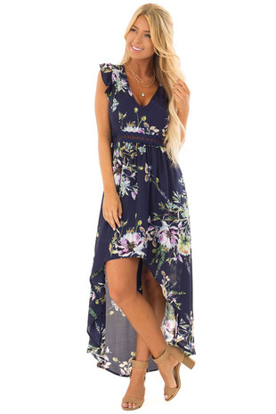 Navy Floral Print High Low Dress with Open Back front full body
