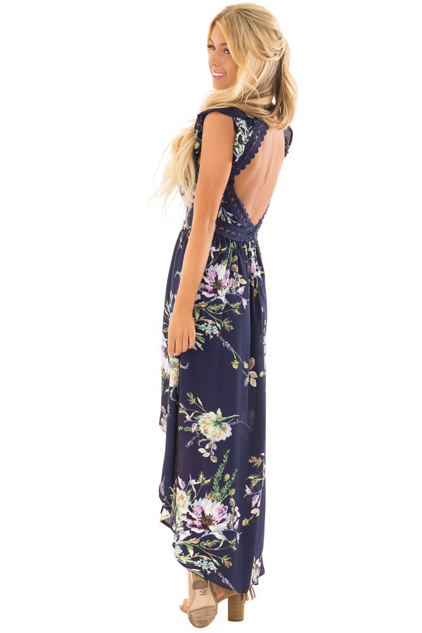 Navy Floral Print High Low Dress with Open Back side full body