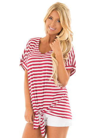 Red and White Striped Top with Front Tie Detail front closeup