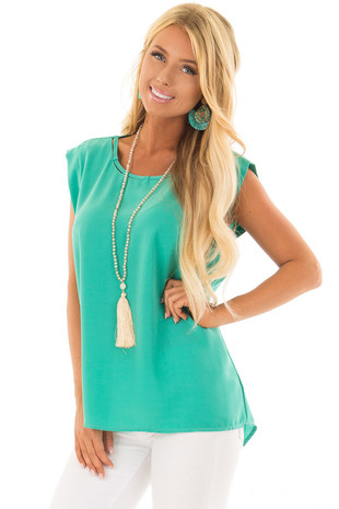 Jade Blouse with Cut Out Neckline and Keyhole Back front closeup
