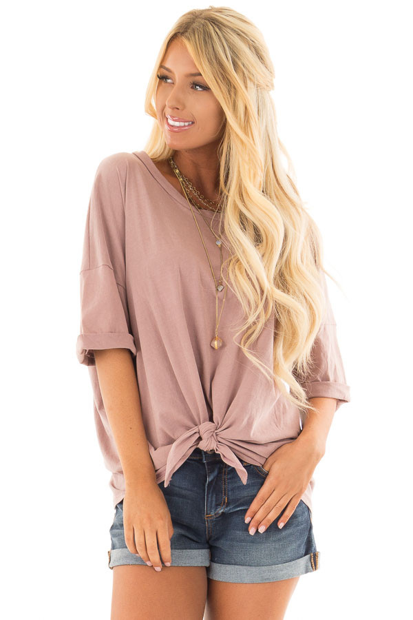 Dusty Rose Comfy Tee Shirt with Front Tie front closeup