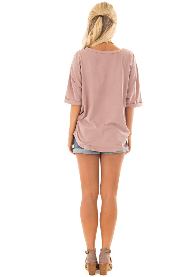 Dusty Rose Comfy Tee Shirt with Front Tie back full body