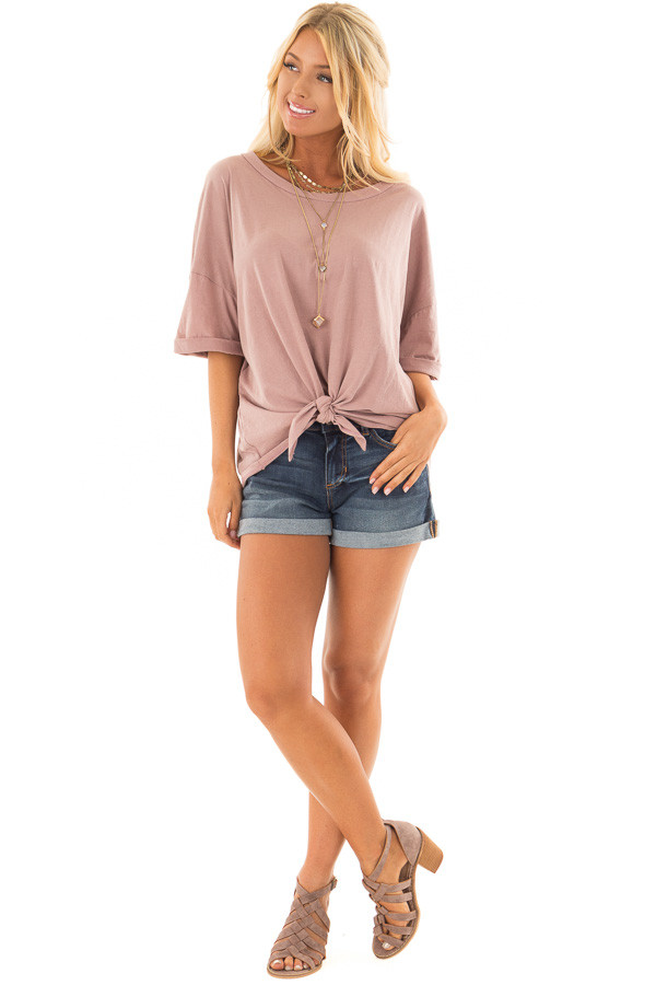 Dusty Rose Comfy Tee Shirt with Front Tie front full body