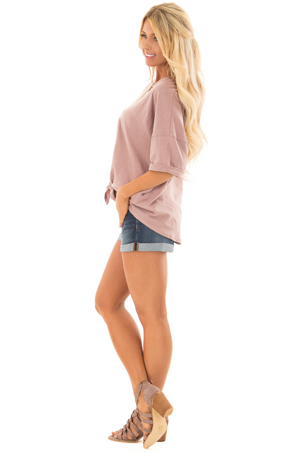 Dusty Rose Comfy Tee Shirt with Front Tie side full body