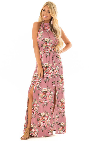 Rose Halter Tie Back Floral Maxi Dress with Front Slits front full body