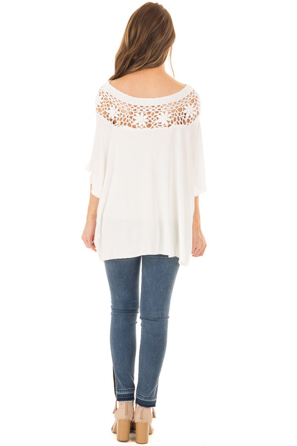 Off White Top with Sheer Crochet Yoke Detail back full body