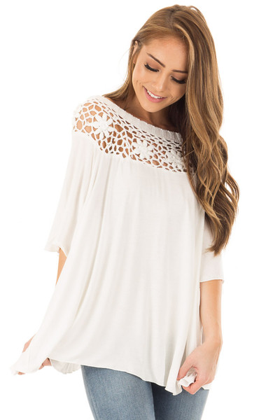 Off White Top with Sheer Crochet Yoke Detail front closeup