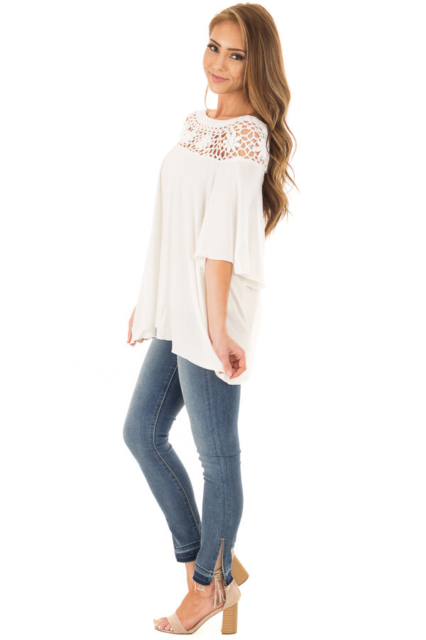 Off White Top with Sheer Crochet Yoke Detail side full body