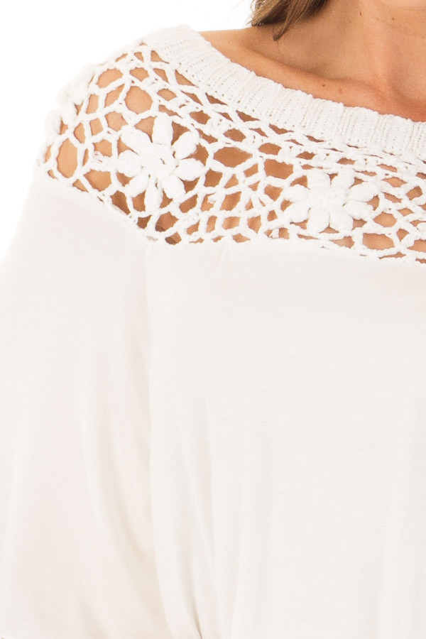 Off White Top with Sheer Crochet Yoke Detail front detail