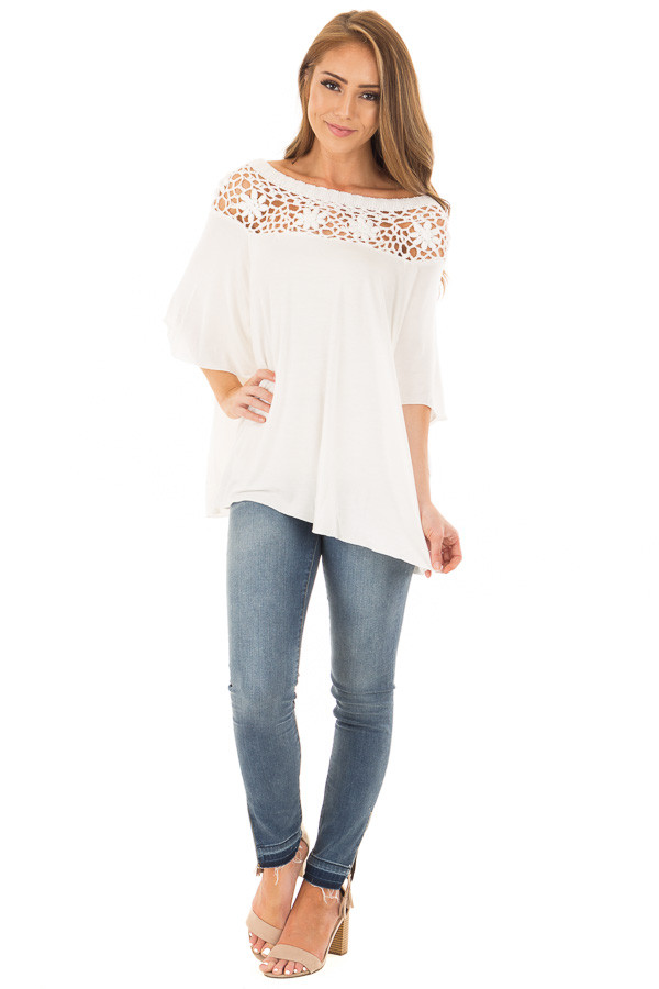 Off White Top with Sheer Crochet Yoke Detail front full body