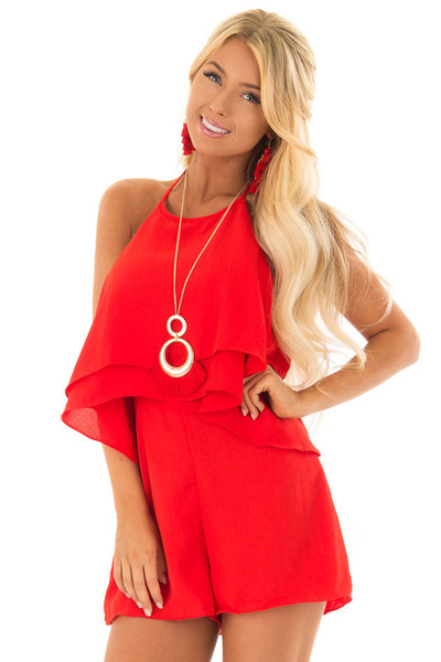 Firecracker Red Halter Romper with Open Back front closeup