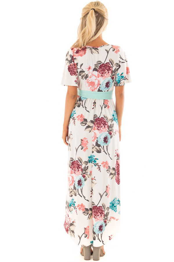 Ivory Floral Print High Low Maxi Dress with Hidden Pockets back full body