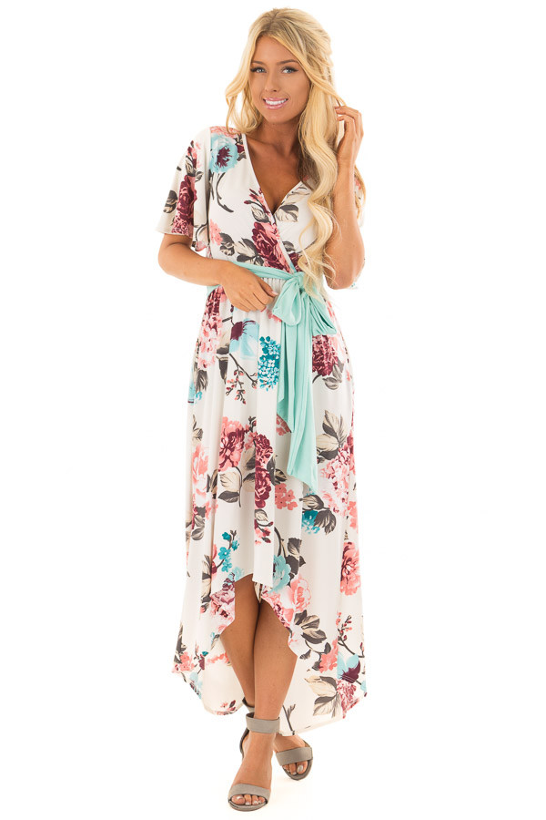 Ivory Floral Print High Low Maxi Dress with Hidden Pockets front full body